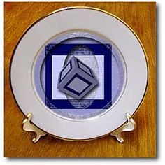 A 3 Dimensional Cube Wrap in the center of a circle and square in blue Plate