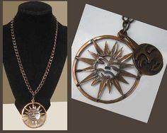 REBAJES Eclipse-Modernist Copper Sun/Moon Eclipse Kinetic Pendant/Copper Chain,Vintage Jewelry,Unisex