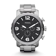 New Fossil Men's Analog Watch Nate Chronograph Stainless Steel Silver JR1353 #Fossil #Casual