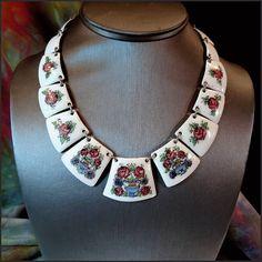 Copper Enamel Vintage Necklace Art Nouveau Jewelry Flower Panels