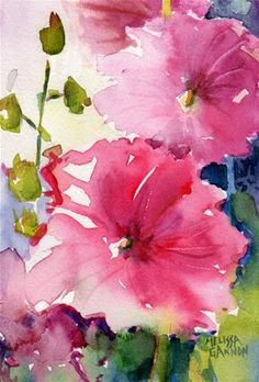 "Daily Paintworks - Original Fine Art © Melissa Gannon - Daily Paintworks – ""Hollyhocks in Pink"" – Original Fine Art for Sale – © Melissa Gannon - Watercolor Pictures, Watercolor Sketch, Watercolor Artists, Watercolor Landscape, Watercolor Illustration, Watercolor Paintings For Sale, Floral Paintings, Watercolor Portraits, Abstract Paintings"