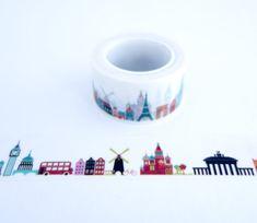 International Landmarks Travel Washi Tape - Wide Masking Tape - Gift Wrap Tape…