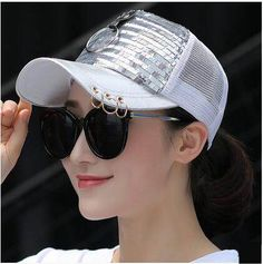 Shiny sequins baseball cap with metal ring for teenage girls UV protection trucker caps