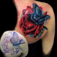 Tattoo - #tattoo #tattoos #tattooartist #inked #inkjecta #bodyart  #colortattoo #butterfly #realistictattoo #rose