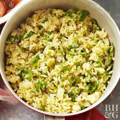 This Mexican Green Rice recipe is an easy side dish to serve along with tacos, enchiladas, or any other south of the border recipe. Rice Salad Recipes, Avocado Recipes, Veggie Recipes, Mexican Food Recipes, Vegetarian Recipes, Ethnic Recipes, Low Salt Recipes, Side Recipes, Mexican White Rice