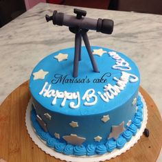 Telescope and constellation birthday cake by wwwflossiepopscakery