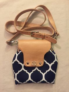 Navy Blue Canvas and Leather  Crossbody Purse
