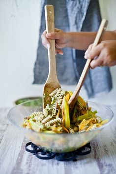 Pasta with Shaved Carrots & Carrot Green Sauce via Playful Cooking #recipe
