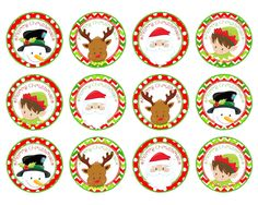 Christmas Cupcake/Food Toppers - 1 and 2 Circles - Gift Tags - Printable Instant Download - Santa, Reindeer, Snowman, Elf Great for Cupcake