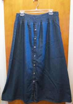 NORTH STYLE Modest Cotton Denim Long Jean Skirt Womens Size Large Elastic Waist #NorthStyle #FullSkirt
