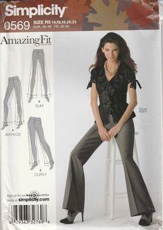 Amazing Fit Pants Pattern Size 14 - 22 Uncut Simplicity 0569 Customized Fitting Pattern by PrettyfulPatterns on Etsy