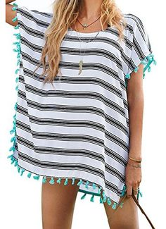 Yonala Women's Stripe Chiffon Trim Beachwear Bikini Cover-Up,Stripe,One Size. WOMNE'S SWIMSUIT COVER UPS:Pullover,Middle Long Length,Classic Stripe.One Size Fits US Size XS-M. GREAT FOR MANY OCCASIONS: Womens Bikini,Swimwear,Swimsuits,Beachwear,Bathing Suits,Monokini,Tankini,ect. FASHION BEACH DRESS:Stylish and Bright Beachwear Swimsuit Cover Up Dress Which is Perfect used for Sunscreen. UNIQUE DESIGN:Showing You Special,Beautiful,Best and Necessary Cover Up for Your Wonderful Vacation…