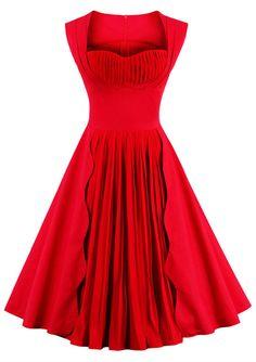 $27.80 Sweetheart Neck Sleeveless Pin Up Swing Dress - Red