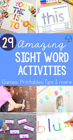 Sight word activities including active learning ideas, games, printables, worksheets, and tips for teaching high-frequency words at home. #kindergrten #sightwords #booksandgiggles #preschool #homeschooling