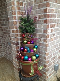 Christmas decorated flower pots.