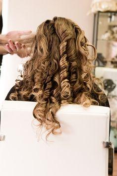 Long blonde salon curls