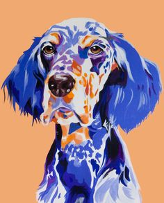 Custom animal portraits in a pop art, Commissioned pet portraits, canvas,acrylic paint. dog art. english setter, fauvism, pup, colorful