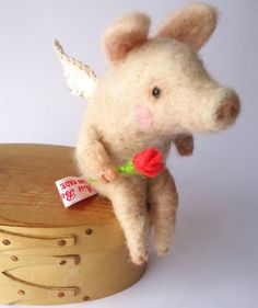 Needle Felted Animal  Cute Felted Piggy Putto
