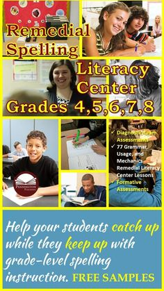 The Remedial Spelling Literacy Center provides a diagnostic assessment and 8 spelling workshops: Short Vowels, Silent Final e, Consonant Digraphs, Long Vowels, Diphthongs, Controlled Vowels, Conventional Spelling Rules, Language Influences. Each of the 10