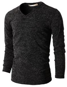 Mens Casual V-Neck Knit T-Shirts Long Sleeve (KMTTL029) #doublju