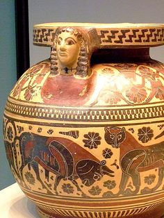 Cosmetics Container with Animals Greek made in Corinth about 570 BCE perhaps produced by the Chimaera Painter Terracotta
