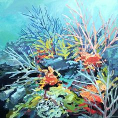 Coral Reef 36x36 acrylic on canvas. Paintedpaperbyholly.blogspot.com
