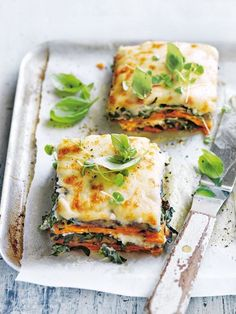 Sweet potato, eggplant and cauliflower béchamel lasagne. Vegetarian dinners.
