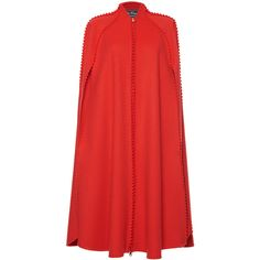 Salvatore Ferragamo Zig Zag Cape (118,455 DOP) ❤ liked on Polyvore featuring outerwear, red cape, salvatore ferragamo, cape coat and red cape coat