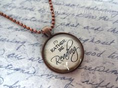 I'd rather be Reading Necklace - Reading Jewelry - Book Necklace or Keychain - Antique Copper Pendant - Library Teacher Gift by LittleGemGirl on Etsy https://www.etsy.com/listing/166986548/id-rather-be-reading-necklace-reading