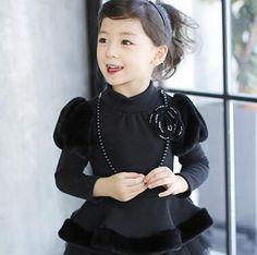 2015 winter children's Plush bubble sleeve Princess Dress Jacket  abu275