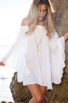 Off the shoulder dresses make such cute white dresses!