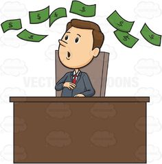 Man In Business Suit Sitting At Desk Looking Up In the Air At Floating Green Dollar Bills #bill #boss #business #dollar #earning #earnings #employment #finance #guy #human #investment #male #man #money #occupation #office #PDF #people #person #saving #sign #success #supervisor #symbol #vectorgraphics #vectors #vectortoons #vectortoons.com #wealth #work