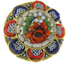 Micro - Mosaic Flower Pin - ITALY. via Etsy.
