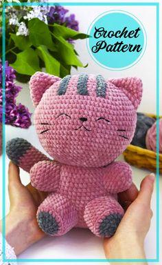 Crochet Coaster Pattern, Crochet Cat Pattern, Crochet Amigurumi Free Patterns, Plush Pattern, Crochet Cat Toys, Knitted Cat, Crocheted Toys, Crochet Stitches Free, Free Crochet