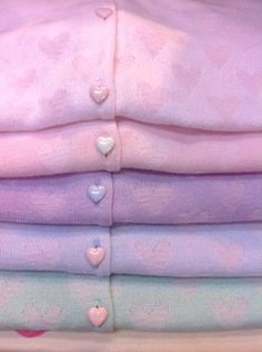 cute heart buttoned pastel sweaters