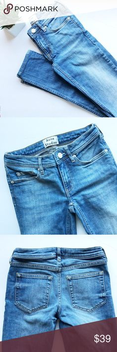 Acne Low Vintage Skinny Jeans💙 Acne Low Vintage Skinny Jeans💙 Condition: Pre-owned (worn once)  Size: 2 US Inseam: 30 Waist: 11 Classic & trendy jeans by Acne studios. Worn once. Selling them because I'm more of a high waist kinda girl. These jeans are jeans and not jeggings.  Please reference size guide that these are a size 2 US in the UK they are 23/32  Small flaw on right back pant leg of jeans I'm sure it would come off with something other the laundry detergent. Pair these with…