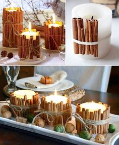 29 ideias para decorar a sua mesa de Natal com velas We have selected 25 ideas for decorating Christmas table with candles: it is simple, economical and very beautiful. Holiday Crafts, Home Crafts, Diy And Crafts, Holiday Decor, Rustic Christmas, Christmas Time, Xmas, Classy Christmas, Christmas Candles