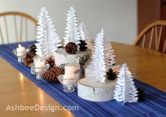 A Winter Centerpiece ~ Using a Silhouette cutter for the trees