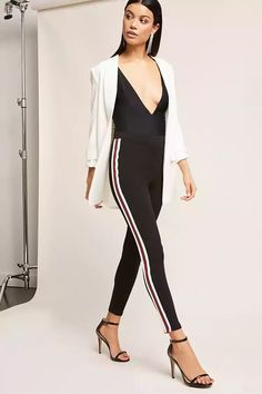 Product Name:Contrast Stripe Leggings, Category:CLEARANCE_ZERO, Price:25