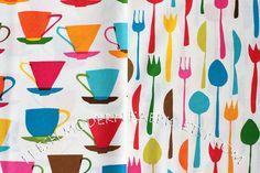 Half Yard Bundle Teacups And Flatware in by FreshModernFabric, $9.50
