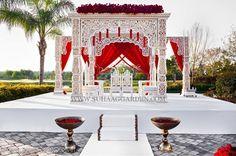 Renaissance Orlando, Florida Wedding, Traditional Mandap, Jodha Akhbar Mandap, Grand Mandap, Shades of Red, Classic, Red Roses, Outdoor Indian Wedding, Outdoor Indian Ceremony