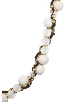 Marni  Beaded chain and ribbon necklace
