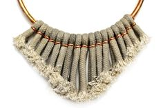 Grey Fringe Necklace Tassel Necklace Rope Necklace by gudbling