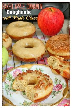 Baked Apple Cinnamon Doughnuts with Brown Butter Maple Glaze