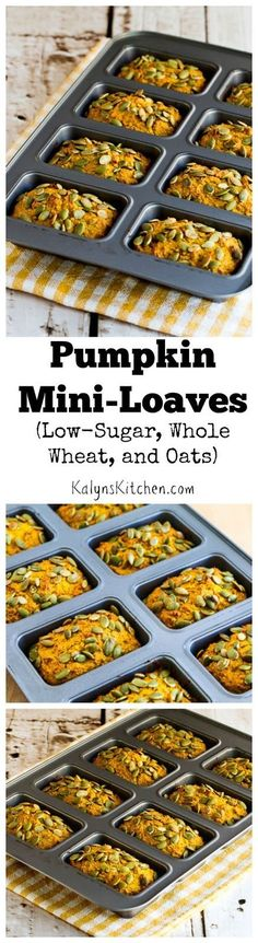 These Low-Sugar, Whole Wheat, and Oats Pumpkin Mini-Loaves were so delicious I couldn't wait until October to share the recipe! They're also super easy to make. The recipe will make about 14 regular muffins if you don't have a mini-loaf pan. [from KalynsKitchen.com]