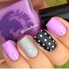 Purple , silver and black