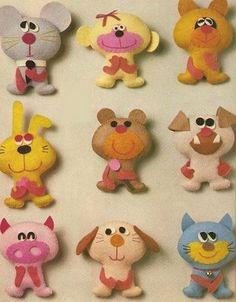My craft magazines: cloth animals Felt Animal Patterns, Stuffed Animal Patterns, Fabric Animals, Felt Animals, Easy Animals, Fuzzy Felt, Wool Felt, Felt Crafts, Crafts To Make