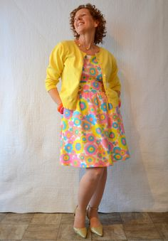 Pastel print dress, yellow sweater  http://www.acolourfulcanvas.com/2014/02/project-sewn-signature-style.html