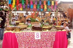 MAITUM, Sarangani (November - Kakanin Festival is celebrated by barangay Malalag (poblacion) every month of November. Fiesta Theme Party, Party Themes, Filipiniana Wedding, Fiesta Decorations, 90th Birthday, Candy Buffet, Party Planning, First Birthdays, Maria Clara
