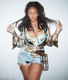 Soak up the sun in a printed swimsuit like Rihanna. Click 'Visit' to buy now. #DailyMail